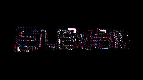 Letters are collected in text ELEVEN, then scattered into strips. Bright colors Animation