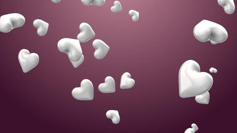 Animation of hearts on the beautiful white background Footage