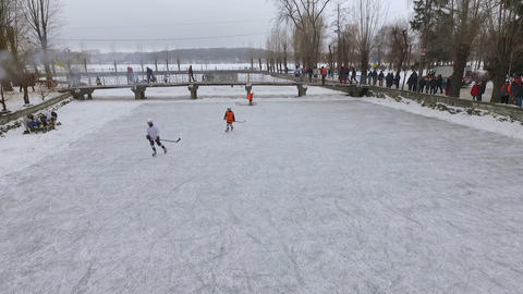 men playing hockey. aerial view. View from above Archivo