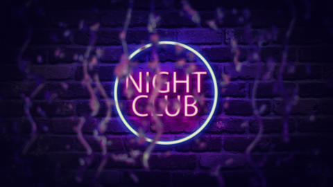 Neon signboard of a night club behind a wet glass with drops Animation