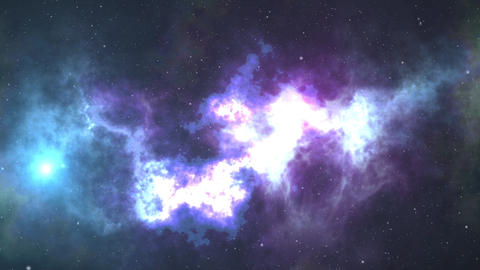 Space background. Camera is flying through the blue and magenta coloured nebula Bild