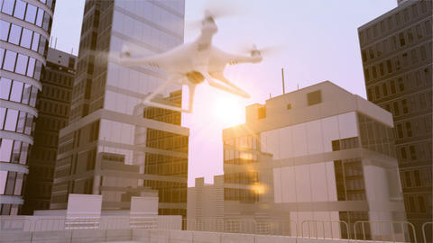 Quadcopters take off for patrol Animation