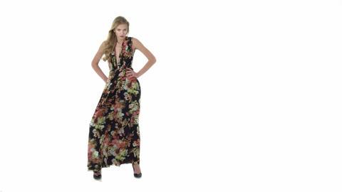 Elegant woman in a long dress Footage