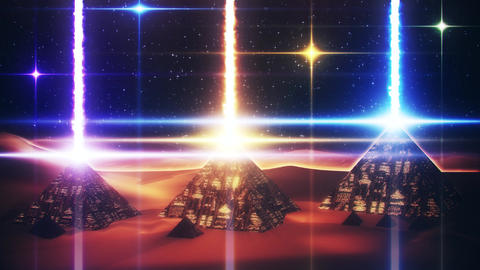 Sci-Fi Giza Pyramids at Night Loopable Motion Graphic Background Animation