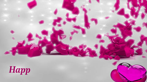 Valentine Video Background Loop_16_shinning particles with pink hearts Footage