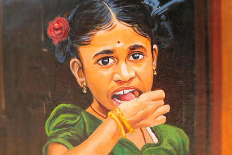 Closeup image of painted onto a wall in Chennai, India Fotografía