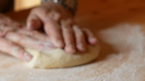 close up on a work table where the dough is spread out Footage
