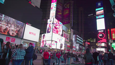Too Many People In Times Square In The night Footage