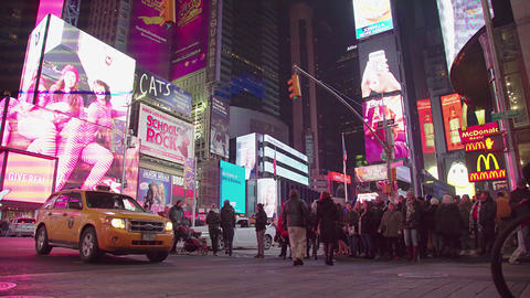 City Crosswalk At Night, Times Square Footage