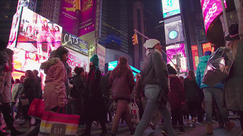 Crowded Times Square At Night In New York, 4K Footage