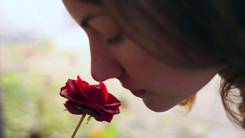 Beautiful girl smelling a red rose Footage