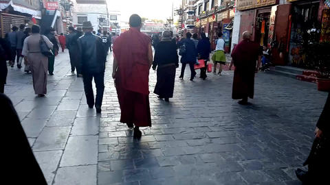 Tibetan Monk Walks the Pilgrimage Footage