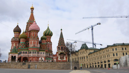 People walk near the Kremlin, St. Basil's Cathedral, Vasilevsky descent, and con Footage