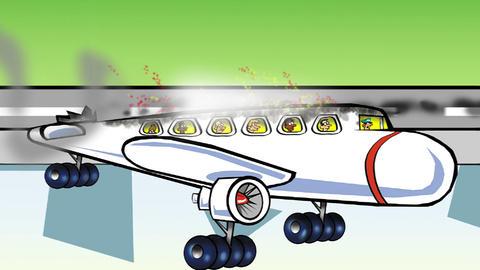 Plane lands upsidedown Animation