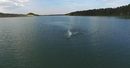 Male Swimmer Swimming In The River Footage