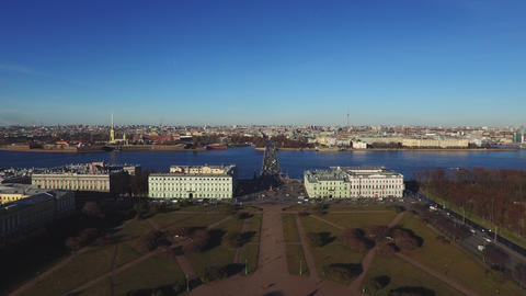 Historical Buildings Of St.-Petersburg In The Morning Live Action