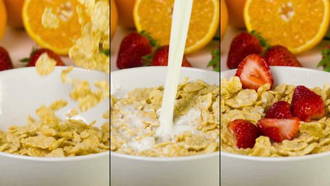 Slow Motion Breakfast Cereal Footage