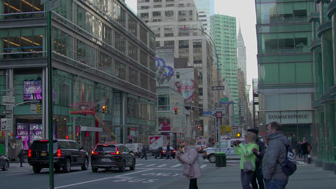 New York day with people and cars, slow motion Footage