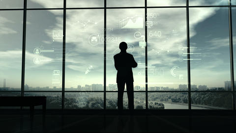 Silhouette of man and corporate infographics Animation