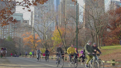 Running people, Manhattan view from Central Park, slow motion Footage