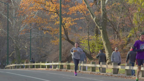 Running people, Central Park, slow motion Live Action