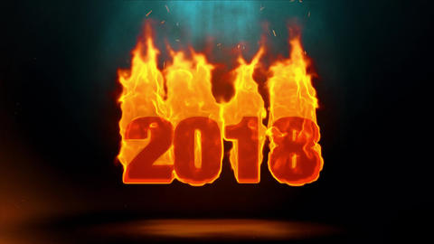 2018 Word Hot Burning on Realistic Fire Flames Sparks Continuous Loop Animation
