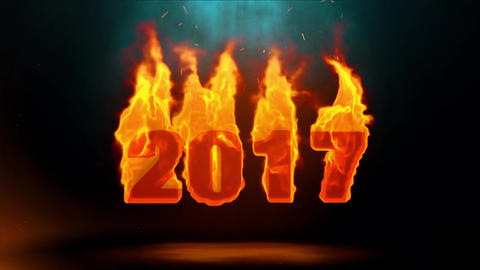 2017 Word Hot Burning on Realistic Fire Flames Sparks Continuous Loop Animation