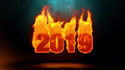 2019 Word Hot Burning on Realistic Fire Flames Sparks Continuous Loop Animation