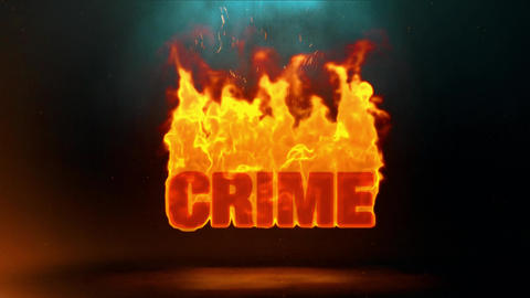 Crime Word Hot Burning on Realistic Fire Flames Sparks Continuous Loop Animation