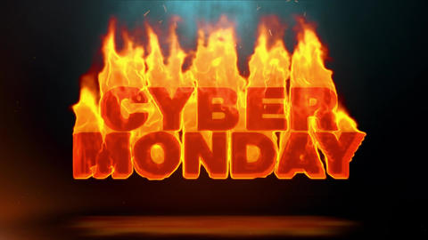Cyber Monday Word Hot Burning on Realistic Fire Flames Sparks Continuous Loop Animation