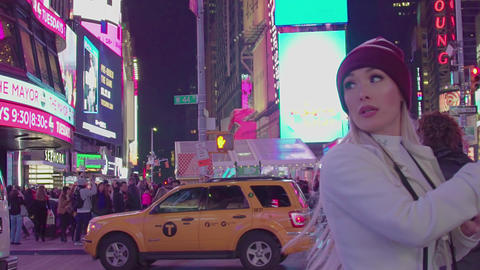 City Crosswalk At Night, Times Square, slow motion Footage