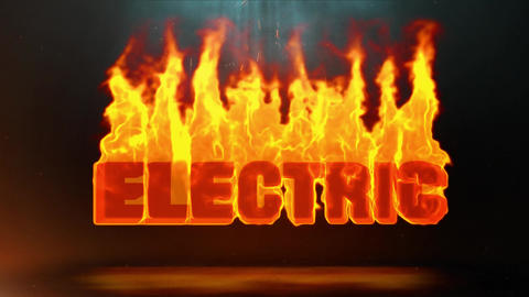 ElECTRIC Word Hot Burning on Realistic Fire Flames Sparks Continuous Loop Animation