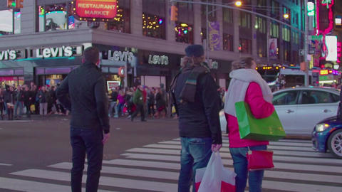 Crowded Times Square At Night In New York City, slow motion Footage