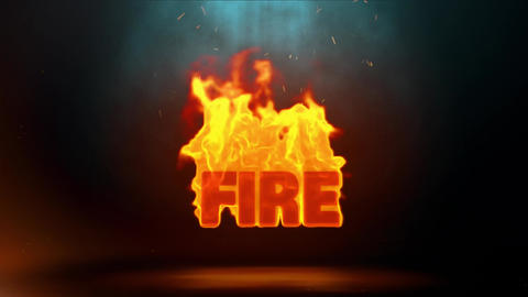 Fire Word Hot Burning on Realistic Fire Flames Sparks Continuous Loop Animation
