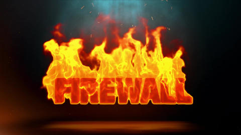 Firewall Word Hot Burning on Realistic Fire Flames Sparks Continuous Loop Animation