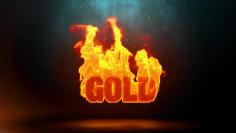 gold Word Hot Burning on Realistic Fire Flames Sparks Continuous Loop Animation