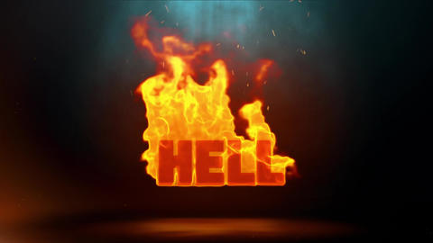 Hell Word Hot Burning on Realistic Fire Flames Sparks Continuous Loop Animation