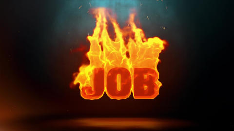 JOB Word Hot Burning on Realistic Fire Flames Sparks Continuous Loop Animación