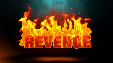 Revenge Word Hot Burning on Realistic Fire Flames Sparks Continuous Loop Animation
