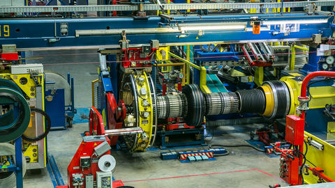 Time Lapse Employees Work with Equipment at Tire Plant Archivo