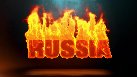 Russia Word Hot Burning on Realistic Fire Flames Sparks Continuous Loop Animation