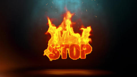 Stop Word Hot Burning on Realistic Fire Flames Sparks Continuous Loop Animation
