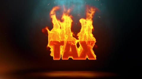 TAX Word Hot Burning on Realistic Fire Flames Sparks Continuous Loop Animation