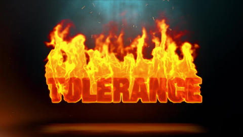 Tolerance Word Hot Burning on Realistic Fire Flames Sparks Continuous Loop Animation
