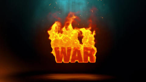 war Word Hot Burning on Realistic Fire Flames Sparks Continuous Loop Animation