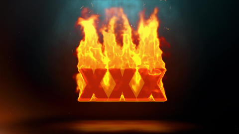 XXX Word Hot Burning on Realistic Fire Flames Sparks Continuous Loop Animation