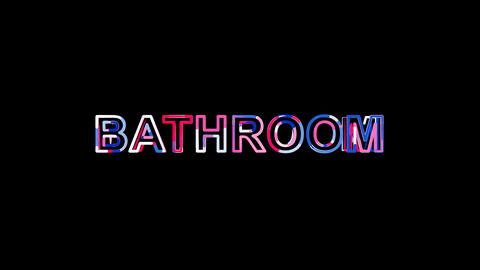 Letters are collected in text BATHROOM, then scattered into strips. Bright Animation