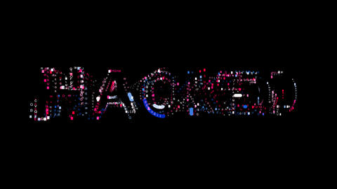 Letters are collected in text HACKED, then scattered into strips. Bright colors Animation