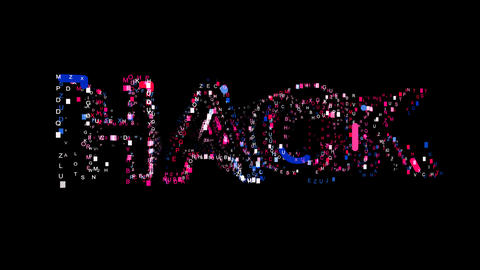 Letters are collected in text HACK, then scattered into strips. Bright colors Animation