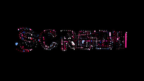 Letters are collected in text SCREEN, then scattered into strips. Bright colors Animation